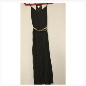 Bisou Bisou Black Maxi Pleated Dress
